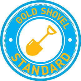 The Gold Shovel Standard Certification logo